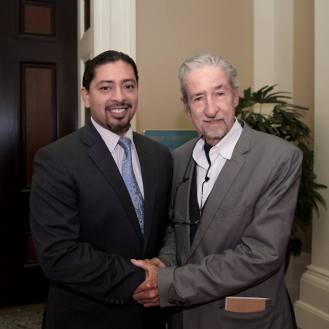 Rafael Aguilera, Program Manager, California Workforce Development Board (pictured with Tom Hayden (1939-2016))